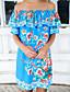 cheap Women's Dresses-Women's Loose Sheath Dress - Floral Boat Neck