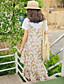preiswerte Damen Kleider-Damen Swing Kleid-Ausgehen Lässig/Alltäglich Blumen Gurt Midi Ärmellos Polyester Hohe Taillenlinie Mikro-elastisch Lichtdurchlässig