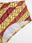 baratos Biquínis e Roupas de Banho Femininas-Mulheres Ombro a Ombro Boho Bandeau Biquíni - Geométrica, Estampado Cintura Alta