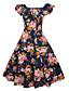 זול מלכת הוינטאג'-U עמוק עד הברך פרחוני - שמלה סווינג כותנה מידות גדולות וינטאג' / בסיסי בגדי ריקוד נשים