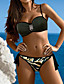 tanie Bikini i odzież kąpielowa 2017-Damskie Pasek Zielony Czarny Szary Bandeau (opaska na biust) Dół typu Cheeky Bikini Stroje kąpielowe - Kamuflaż Nadruk L XL XXL / Seksowny