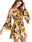 tanie Sukienki-Damskie Moda miejska Flare rękawem Linia A Sukienka - Kwiaty, Bez pleców Przed kolano