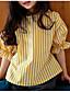 cheap Girls' Tops-Girls' Stripe Blouse, Cotton Summer Half Sleeves Yellow