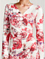 cheap Print Dresses-Women's Bodycon / Sheath Dress - Floral Ruched V Neck / Slim