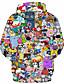 abordables Sweat-shirts Homme-Homme Actif / Exagéré Grandes Tailles Ample Pantalon - 3D / Bande dessinée Imprimé Noir / Capuche / Manches Longues / Automne / Hiver