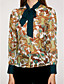 זול חולצה-פרחוני צווארון V סגנון רחוב ליציאה חולצה - בגדי ריקוד נשים פפיון / אביב