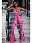 baratos Macacões & Macaquinhos-Mulheres Diário Moda de Rua Vermelho Rosa Fúcsia Macacão, Poá Estampado XL XXL XXXL Sem Manga
