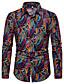 hesapli Erkek Gömlekleri-Erkek Gömlek Desen, Zıt Renkli / Grafik Vintage / Sokak Şıklığı Gökküşağı