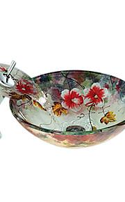 Moderno Tondo Materiale del dissipatore è Vetrotemperato Lavandino bagno Rubinetto per bagno Scarico acqua per bagno