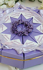 Pyramid Pearl Paper Favor Holder with Ribbons Flower Favor Boxes - 10