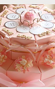 Round Square Card Paper Favor Holder with Ribbons Printing Flower Favor Boxes - 20