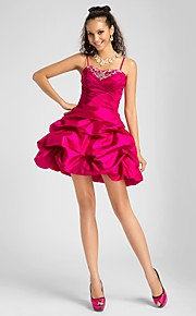 A-Line Ball Gown Princess Spaghetti Straps Sweetheart Short / Mini Taffeta Cocktail Party / Homecoming / Prom / Sweet 16 Dress with