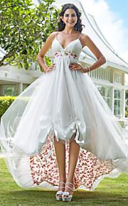 Trapèze Princesse Bretelles Fines Mi-long Asymétrique Organza Robes de mariée personnalisées avec Appliques Drapée sur le côté par LAN