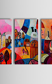 Oil Painting Hand Painted - Abstract Classic Traditional Three Panels