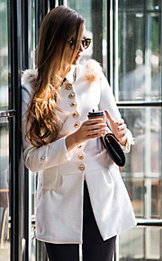 Damen - Solide Mantel Wolle Retro Stilvoll