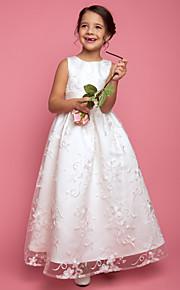 A-vonalú Hercegnő Földig érő Virágoslány ruha - Csipke Ujjatlan Ékszer val vel Pántlika / szalag által LAN TING BRIDE®