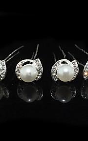 Imitation de perle Strass Alliage Coiffure Épingle à cheveux with Fleur 1pc Mariage Occasion spéciale Casque