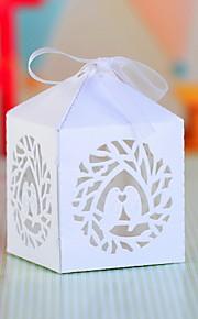 Cubique Papier nacre Titulaire de Faveur avec Noeud Boîtes à cadeaux
