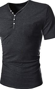 Ανδρικά Καθημερινό / Γραφείο / Αθλητικό Βαμβάκι / Άλλο Απλό Κοντομάνικο T-shirt-Μαύρο / Καφέ / Λευκό / Γκρι