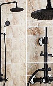 샤워 수전 - 앤티크 오일럽된 브론즈 욕조 & 샤워 도자기 발브 Bath Shower Mixer Taps / 황동 / 두 핸들 세 개의 구멍