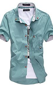 رجالي قطن قميص قياس كبير نحيل ياقة مع زر سفلي أساسي لون سادة خمر XL / كم قصير / الصيف