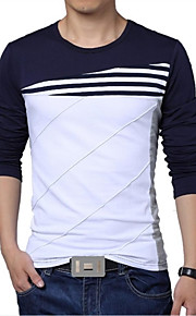 男性用 スポーツ - パッチワーク プラスサイズ Tシャツ 活発的 ラウンドネック スリム ストライプ / カラーブロック コットン ブラック&ホワイト / 長袖