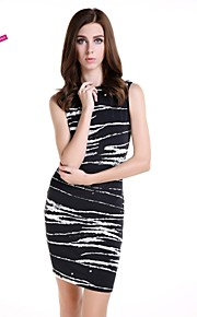 Women's Fine Stripe Work Dress,Animal Print Above Knee Sleeveless Black Spandex Spring/Summer/Fall
