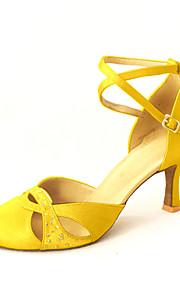 Women's Modern Ballroom Satin Heel Rhinestone Buckle Yellow Red Bronze Pink Blue Customizable