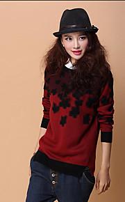 Women's Regular Pullover,Patchwork Blue Pink Red Yellow Long Sleeve Spring Fall Winter Medium Micro-elastic