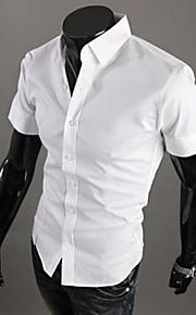 رجالي قطن قميص قياس كبير نحيل ياقة مفرودة - الأعمال التجارية أساسي لون سادة, عمل أخضر XL / كم قصير / الصيف