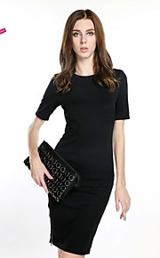 Women's Party Vintage Dress,Solid Above Knee Short Sleeve Black Polyester / Spandex Spring / Summer / Fall