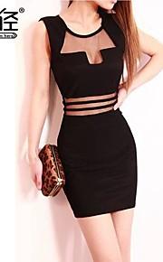 Women's Club Dress,Solid Above Knee Sleeveless Black Fall