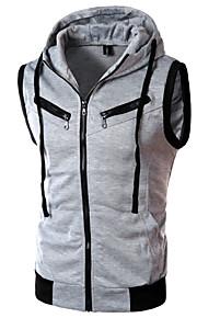Homme Mince Sports Capuche Sans Manches Actif Pull à capuche & Sweatshirt Couleur Pleine / Bloc de Couleur