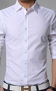 رجالي قميص قياس كبير نحيل ياقة كلاسيكية - الأعمال التجارية / كاجوال لون سادة, عمل أصفر XL / كم طويل / الربيع / الخريف