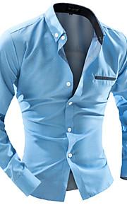 Муж. Офис Рубашка Хлопок, Воротник с уголками на пуговицах (button-down) Тонкие Деловые Однотонный Белый L / Длинный рукав