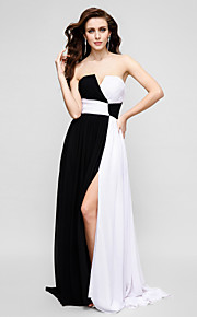 A-Line Strapless Sweep / Brush Train Chiffon Prom / Formal Evening Dress with Criss Cross by TS Couture®