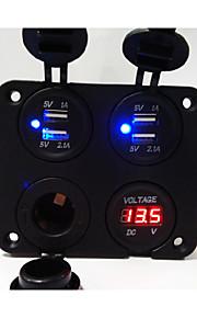 de nieuwe! 4 gaten panel vernieuwde dual USB autolader socket / voltmeter / stopcontact / cigarette