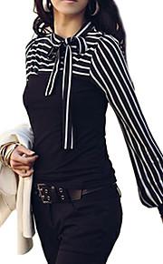 여성용 줄무늬 스탠드 랜턴 슬리브 플러스 사이즈 리본 - 블라우스, 베이직 그린 XXXL / 파인 스트라이프