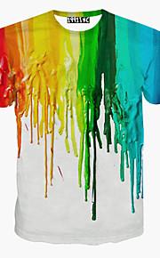 Tee-shirt Homme, Arc-en-ciel - Coton Imprimé Sports Actif Col Arrondi Blanc L / Manches Courtes / Eté