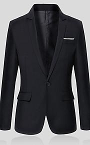 Homme Travail Printemps / Automne Grandes Tailles Normal Blazer, Couleur Pleine Col en V Manches Longues Coton / Polyester Gris / Vin / Bleu clair XXL / XXXL / 4XL / Vêtement décontracté / Mince