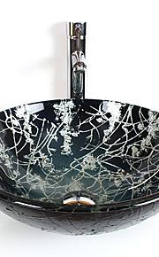 Contemporaneo T12*Φ420*H145MM Tondo Materiale del dissipatore è Vetro temperatoLavandino bagno / Rubinetto per bagno / Anello di