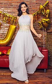 Linea-A Scollo a Illusione Asimmetrico Chiffon Graduazione / Serata formale Vestito con Perline Drappeggio di TS Couture®
