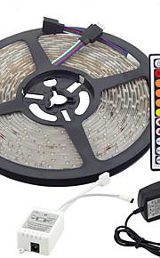 5m 300x3528 smd rgb led 스트립 조명 및 44key 리모컨 및 3a 영국 전원 공급 장치 (ac110-240v) dimmable 유연한 linkable self-adhesive