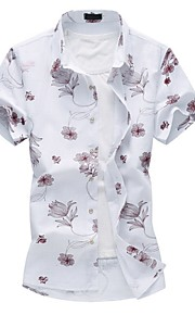 男性用 プラスサイズ シャツ レギュラーカラー フラワー コットン / 半袖