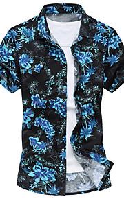 男性用 ビーチ - プリント プラスサイズ シャツ ボヘミアン レギュラーカラー スリム フラワー コットン / 半袖