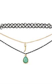 f35b982f5f Női Ékszer készlet Rövid nyakláncok Nyaklánc medálok Gyanta Lógó Bojt  Imádni való Fekete Zöld Nyakláncok Ékszerek