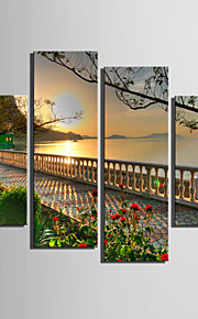 Landskap Klassisk, Fyra paneler Duk Vertikal Tryck väggdekor Hem-dekoration