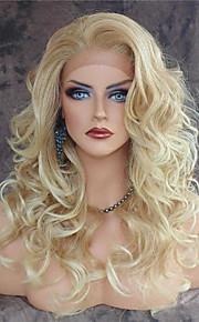 Syntetisk blonder foran parykker Krop Bølge Varme resistent Side del Naturlig hårlinje Blond Dame Blonde Forside Naturlig parykk Lang