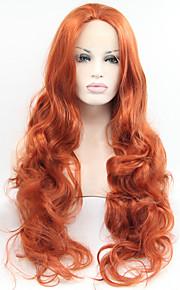 Syntetisk blonder foran parykker Bølget Rød Dame Blonde Forside Karneval Parykk Halloween parykk Naturlig parykk Syntetisk hår