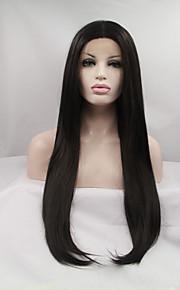 Syntetisk blonder foran parykker Rett Svart Dame Blonde Forside Naturlig parykk Syntetisk hår